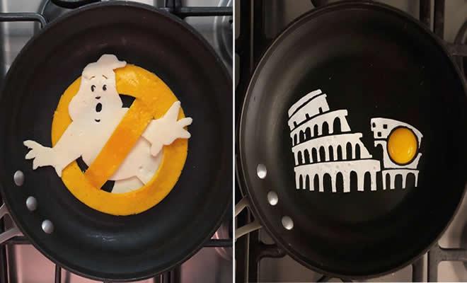 Um artista do México usa uma panela como tela e cria arte a partir de ovos (30 fotos) 23
