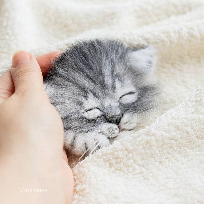 Artista russa cria gatinhos de feltro que parecem ter saído de um conto fada (32 fotos) 33