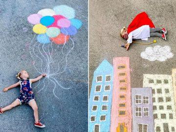 Mãe cria belos desenhos de giz em sua garagem, para criar aventuras durante a quarentena (30 fotos) 1