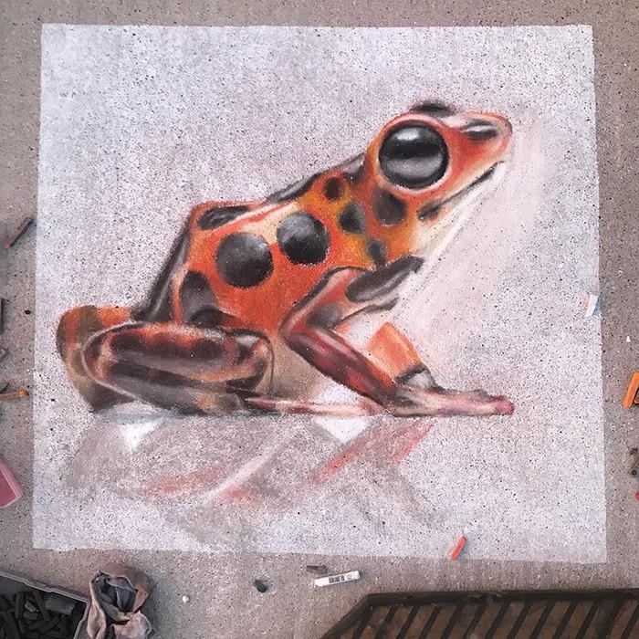 Mãe e filha de 13 anos cria desenhos de giz em 3D impressionantes na calçada do bairro (20 fotos) 8