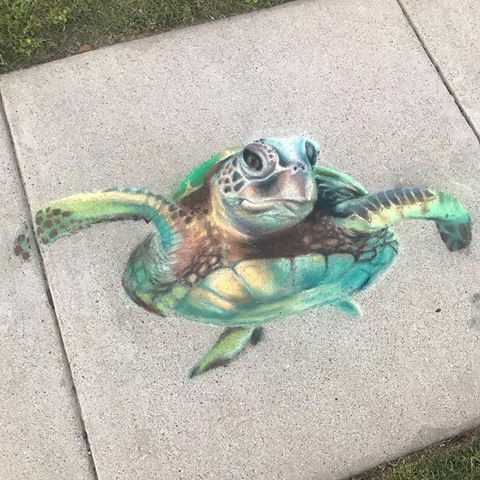 Mãe e filha de 13 anos cria desenhos de giz em 3D impressionantes na calçada do bairro (20 fotos) 18