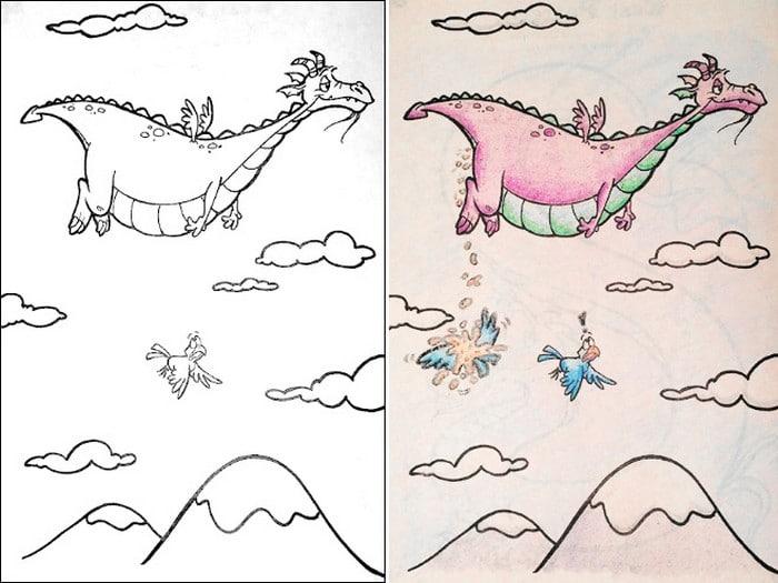 O que acontece quando adultos resolvem colorir livro de crianças (27 fotos) 13