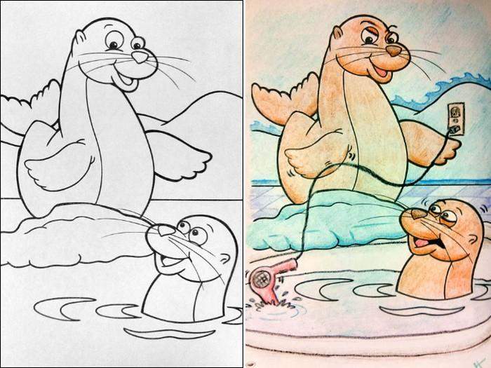 O que acontece quando adultos resolvem colorir livro de crianças (27 fotos) 22