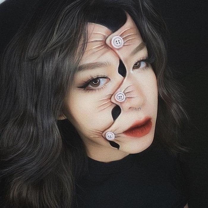 A maquiadora usa seu rosto e corpo como tela para criar ilusões de ótica alucinantes (25 fotos) 6