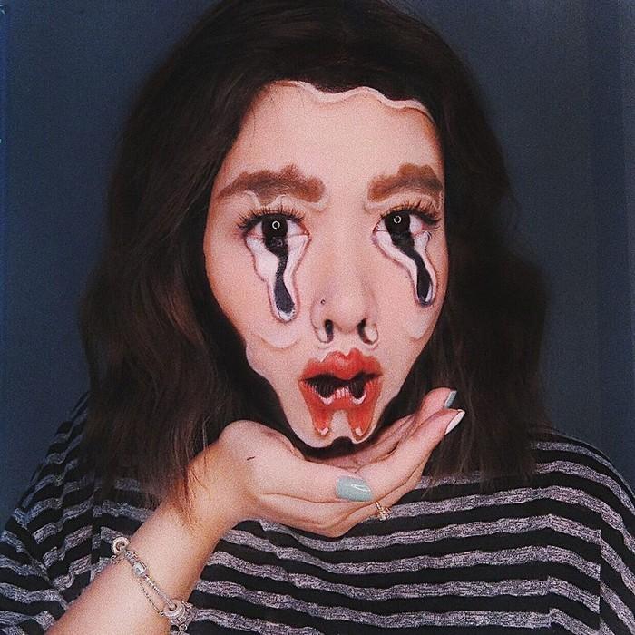 A maquiadora usa seu rosto e corpo como tela para criar ilusões de ótica alucinantes (25 fotos) 9
