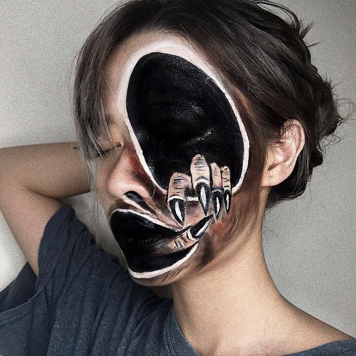 A maquiadora usa seu rosto e corpo como tela para criar ilusões de ótica alucinantes (25 fotos) 10