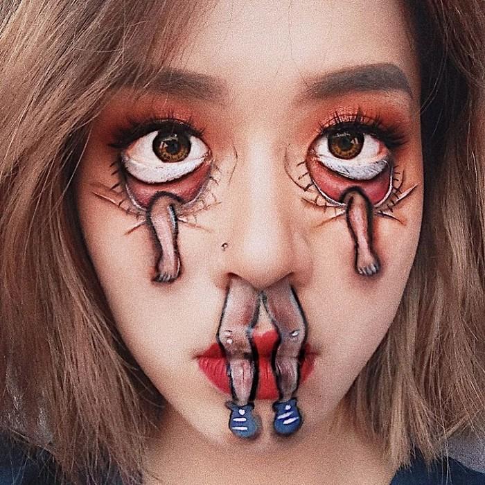 A maquiadora usa seu rosto e corpo como tela para criar ilusões de ótica alucinantes (25 fotos) 12