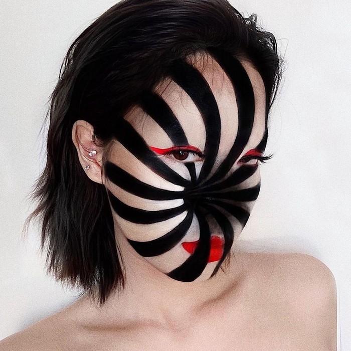 A maquiadora usa seu rosto e corpo como tela para criar ilusões de ótica alucinantes (25 fotos) 23