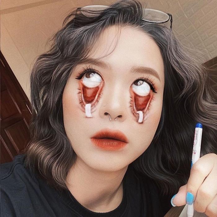 A maquiadora usa seu rosto e corpo como tela para criar ilusões de ótica alucinantes (25 fotos) 24