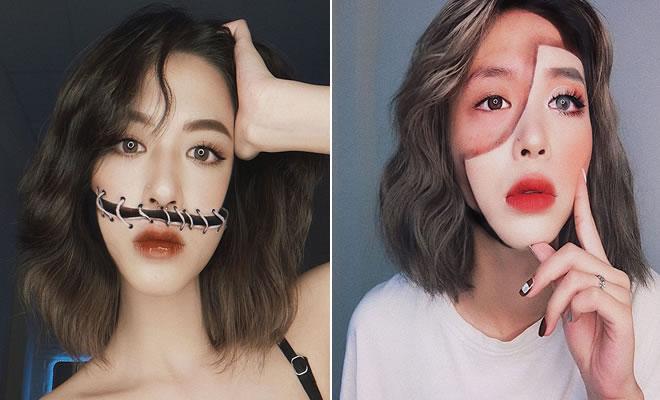 A maquiadora usa seu rosto e corpo como tela para criar ilusões de ótica alucinantes (25 fotos) 1