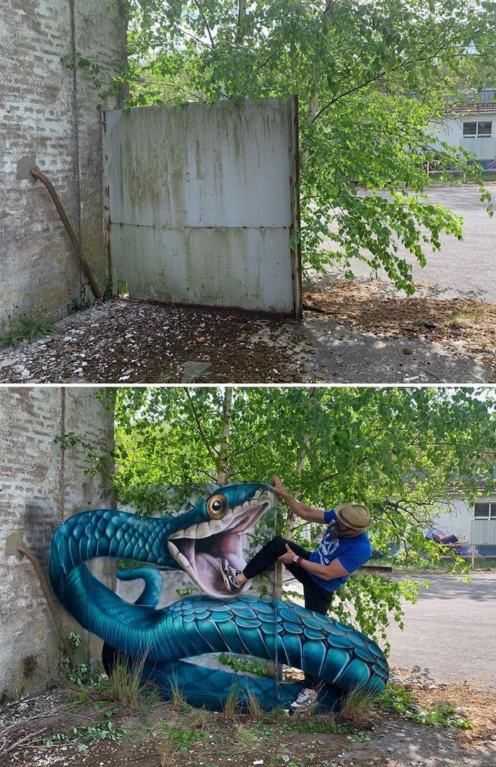 Artista de rua francês pinta grafite de criatura 3D (43 fotos) 2