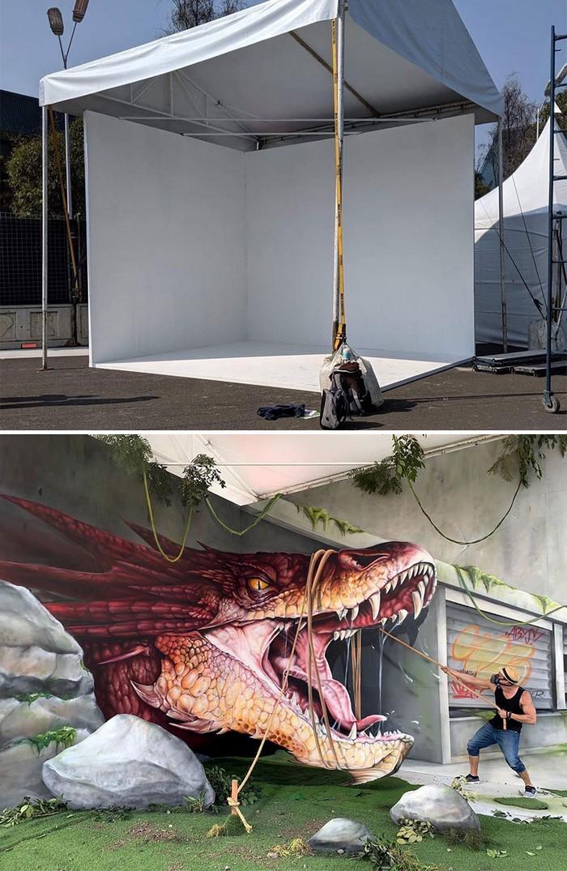 Artista de rua francês pinta grafite de criatura 3D (43 fotos) 7