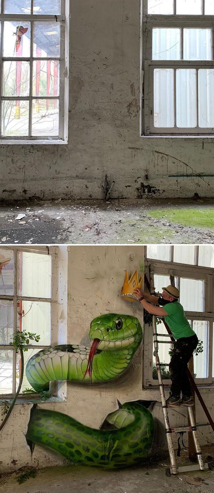 Artista de rua francês pinta grafite de criatura 3D (43 fotos) 11