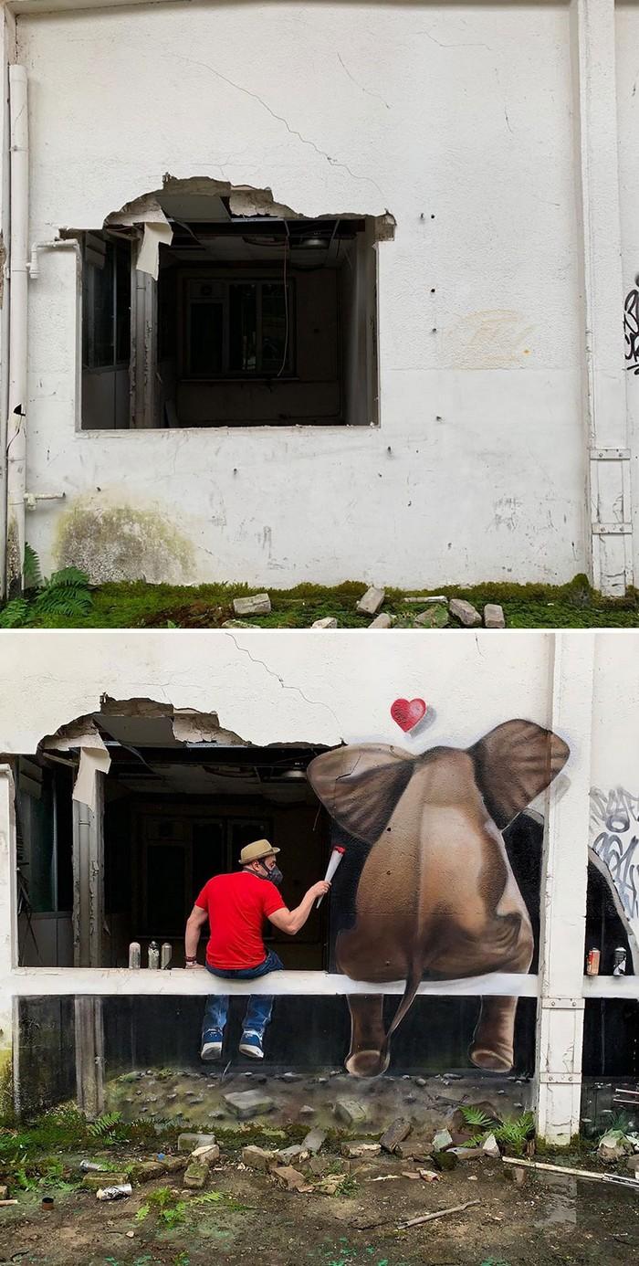 Artista de rua francês pinta grafite de criatura 3D (43 fotos) 12