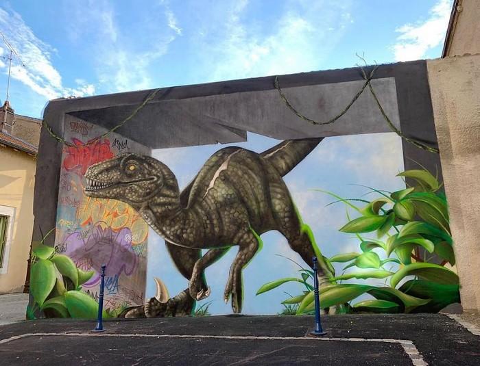 Artista de rua francês pinta grafite de criatura 3D (43 fotos) 16