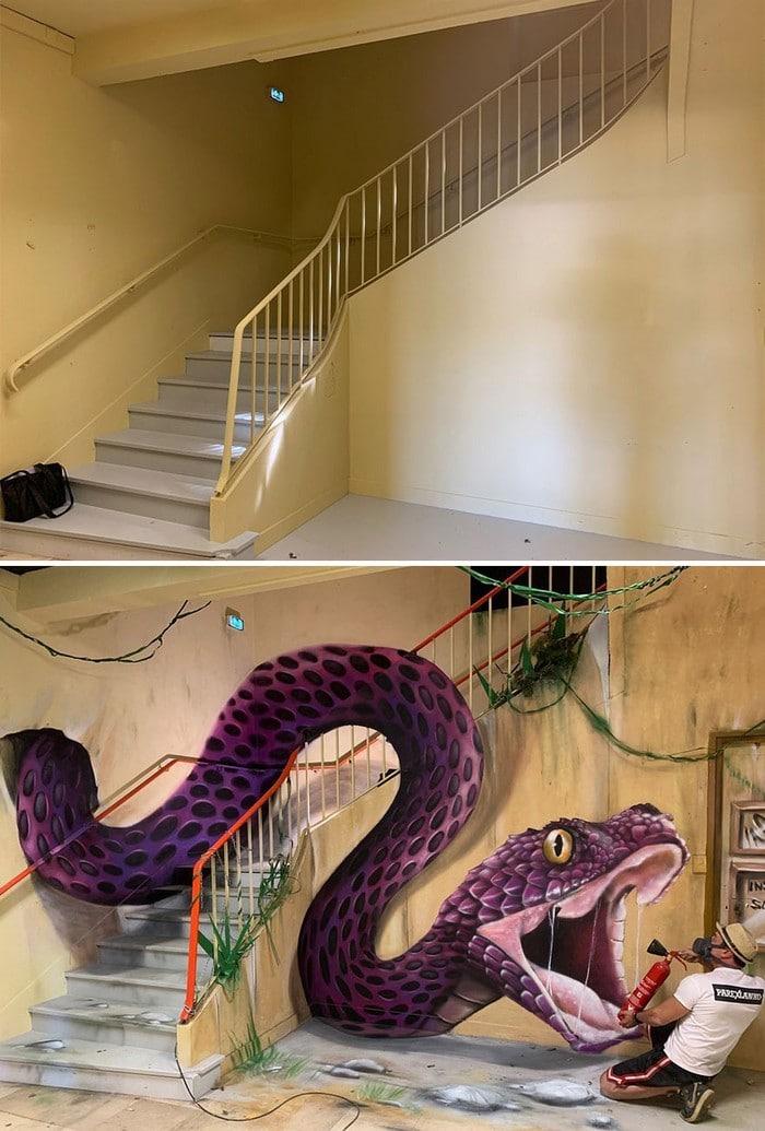 Artista de rua francês pinta grafite de criatura 3D (43 fotos) 21