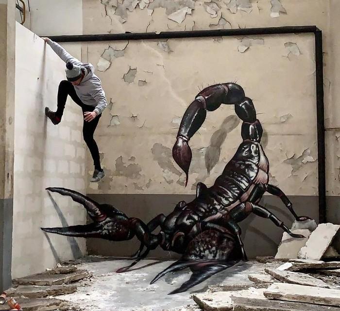 Artista de rua francês pinta grafite de criatura 3D (43 fotos) 25