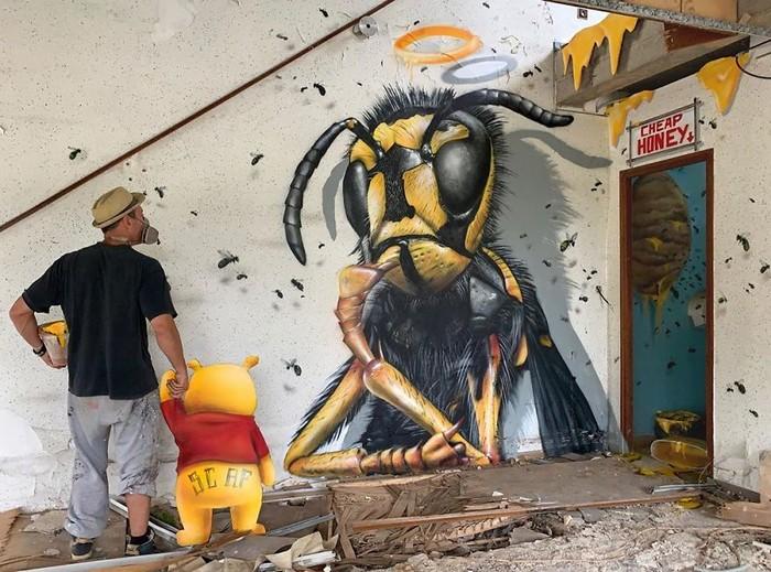 Artista de rua francês pinta grafite de criatura 3D (43 fotos) 29
