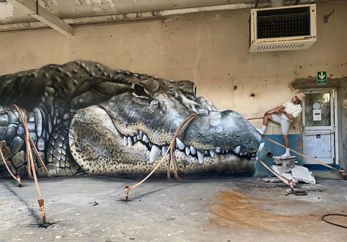 Artista de rua francês pinta grafite de criatura 3D (43 fotos) 33