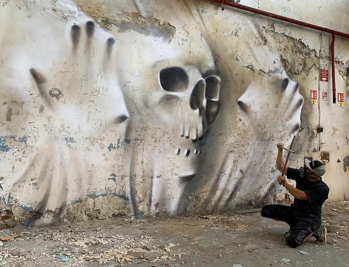 Artista de rua francês pinta grafite de criatura 3D (43 fotos) 34