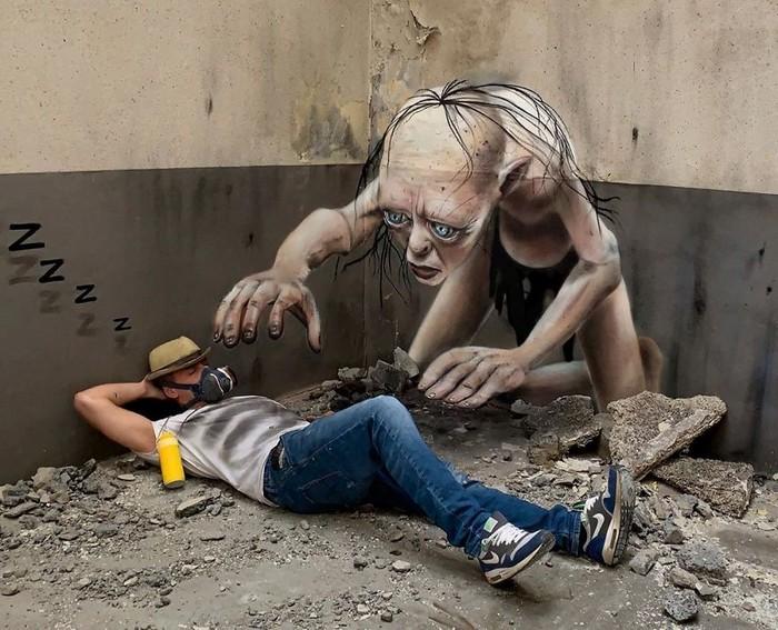 Artista de rua francês pinta grafite de criatura 3D (43 fotos) 35