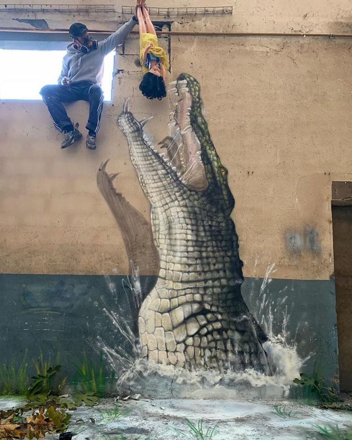 Artista de rua francês pinta grafite de criatura 3D (43 fotos) 37