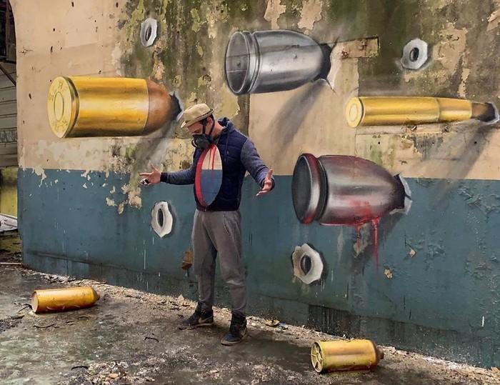 Artista de rua francês pinta grafite de criatura 3D (43 fotos) 38