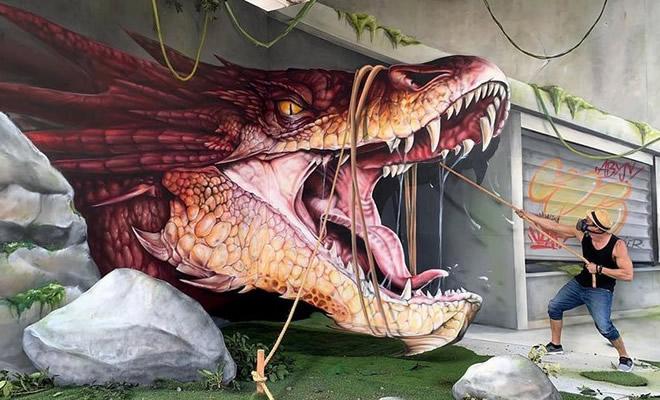 Artista de rua francês pinta grafite de criatura 3D (43 fotos) 1