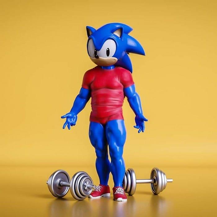 Artista imagina personagens de desenhos animados famosos com corpos humanos e o resultado é bizarro (14 fotos) 13