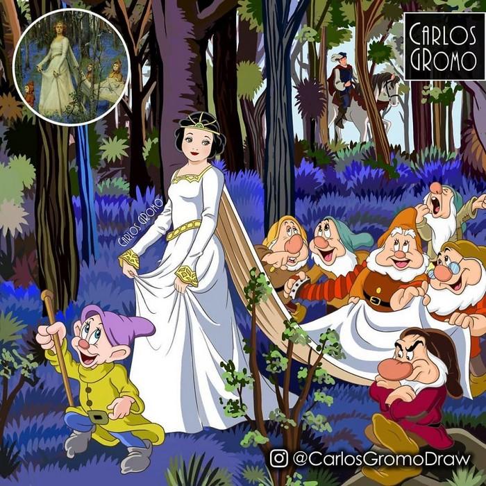 Artista reimagina 22 pinturas famosas com personagens da Disney 8