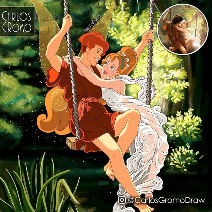 Artista reimagina 22 pinturas famosas com personagens da Disney 13