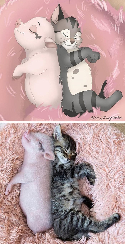 Ilustrador transforma fotos de animais de estimação em criações mágicas no estilo Disney (18 fotos) 16