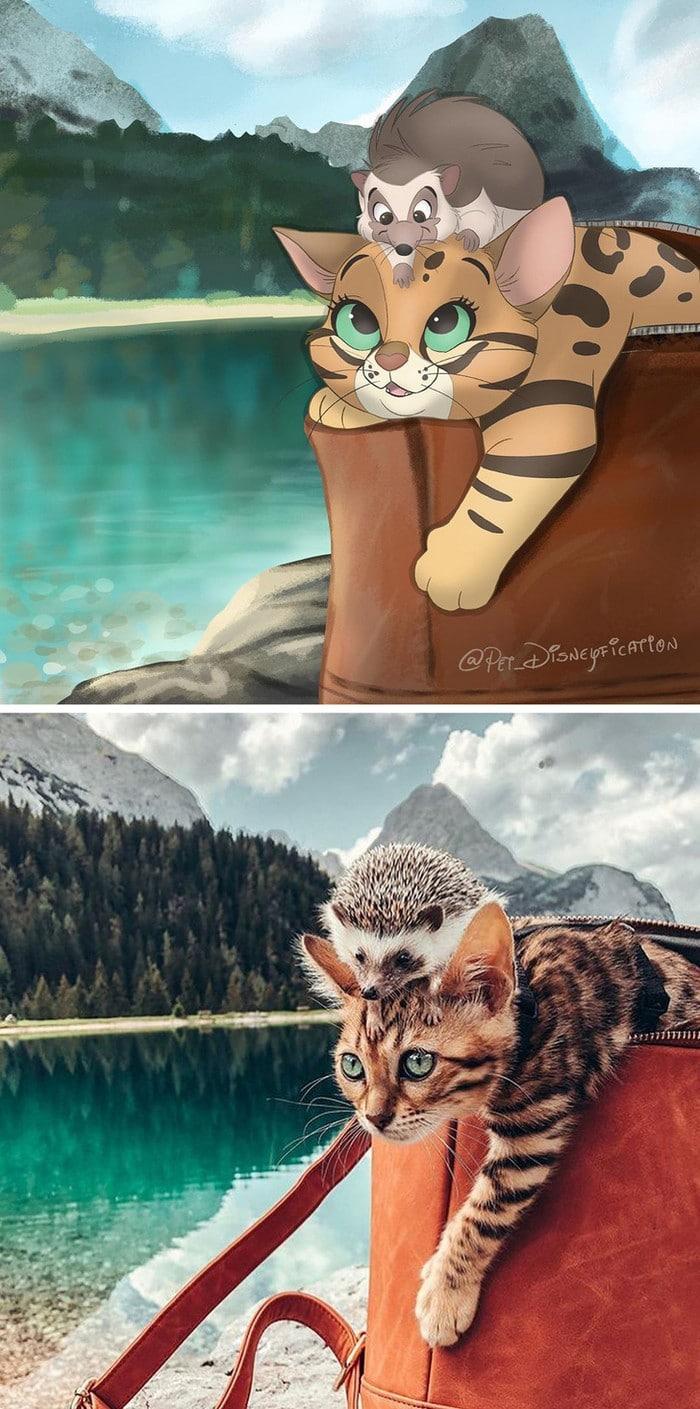 Ilustrador transforma fotos de animais de estimação em criações mágicas no estilo Disney (18 fotos) 17