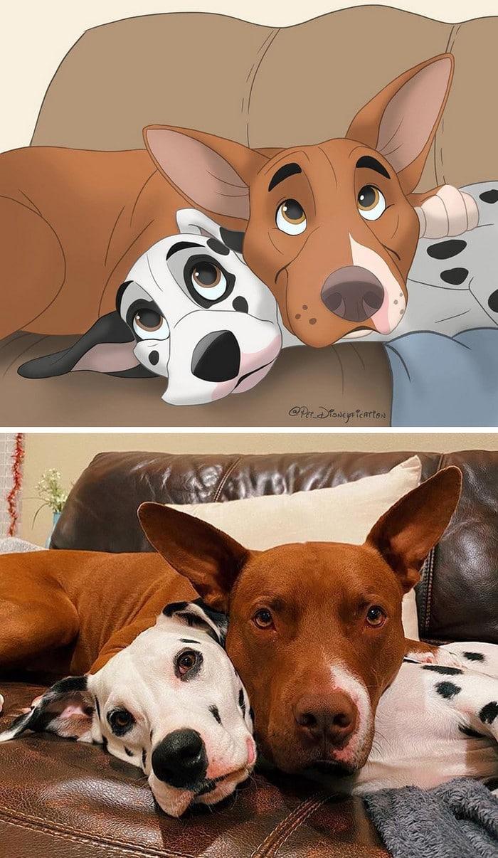 Ilustrador transforma fotos de animais de estimação em criações mágicas no estilo Disney (18 fotos) 18