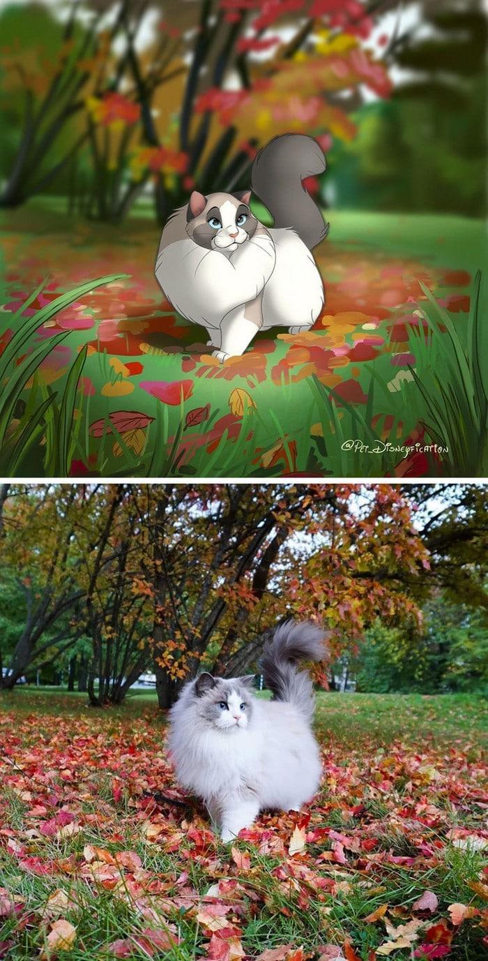 Ilustrador transforma fotos de animais de estimação em criações mágicas no estilo Disney (18 fotos) 19
