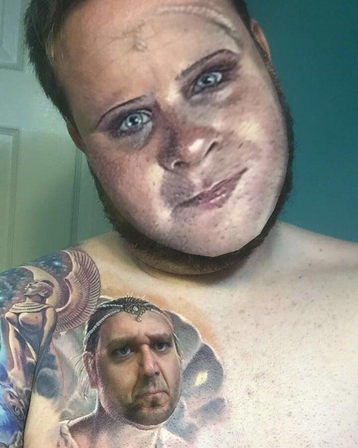 Quando você usa o aplicativo de troca de rosto em sua tatuagem (21 fotos) 7