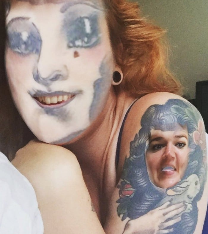 Quando você usa o aplicativo de troca de rosto em sua tatuagem (21 fotos) 21
