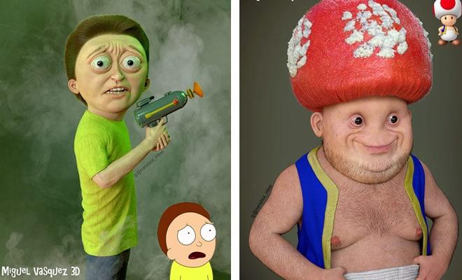 Artista mostra como os personagens de desenho animado ficariam na vida real e podem arruinar sua infância (14 fotos) 1