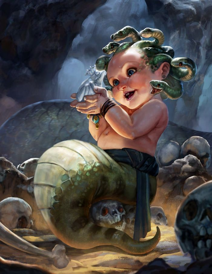 Artista retrata criaturas místicas em sua forma vulnerável, quando ainda eram bebês (30 fotos) 4
