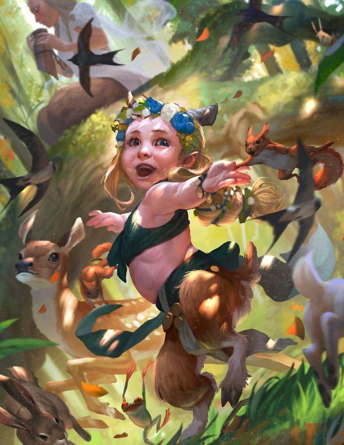 Artista retrata criaturas místicas em sua forma vulnerável, quando ainda eram bebês (30 fotos) 13