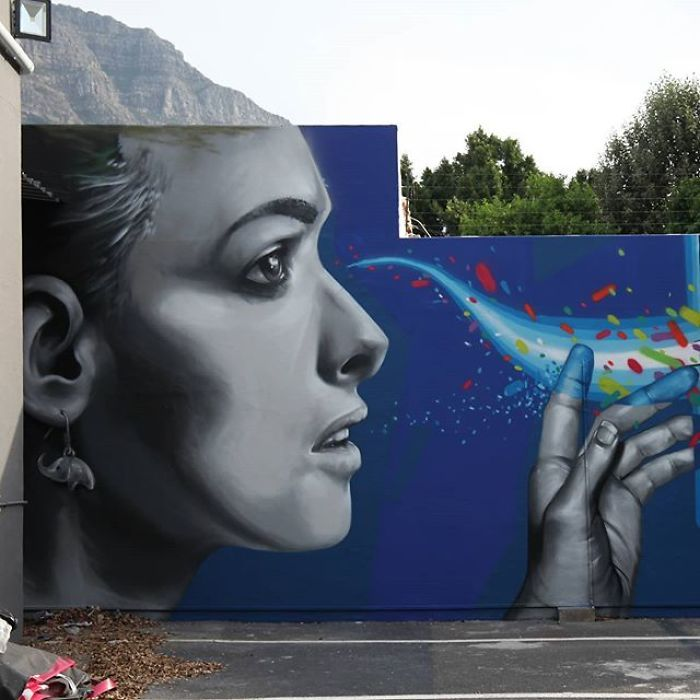 Artista sul-africano pinta grafites incríveis que interagem com o ambiente (32 fotos) 20