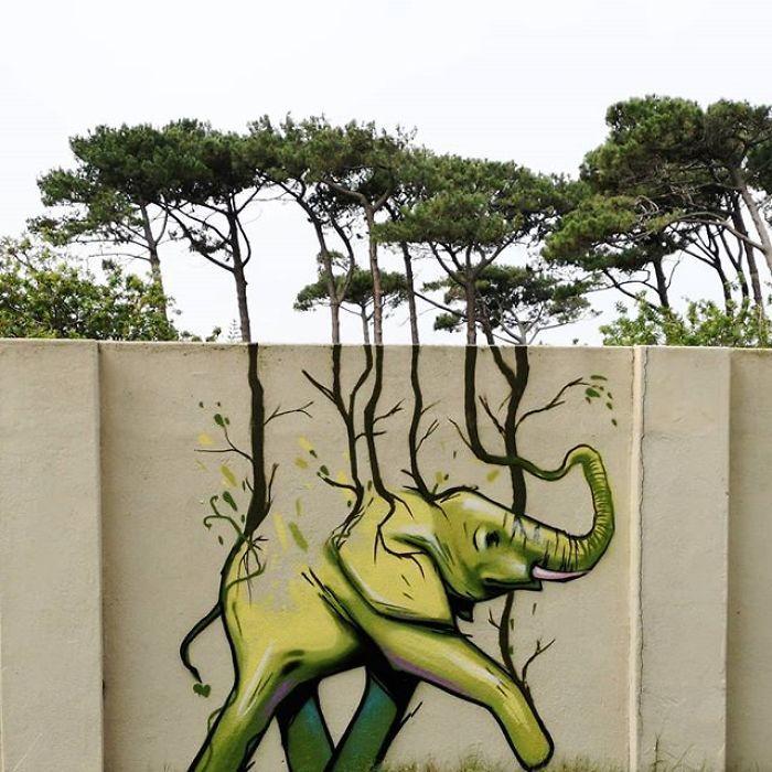 Artista sul-africano pinta grafites incríveis que interagem com o ambiente (32 fotos) 23