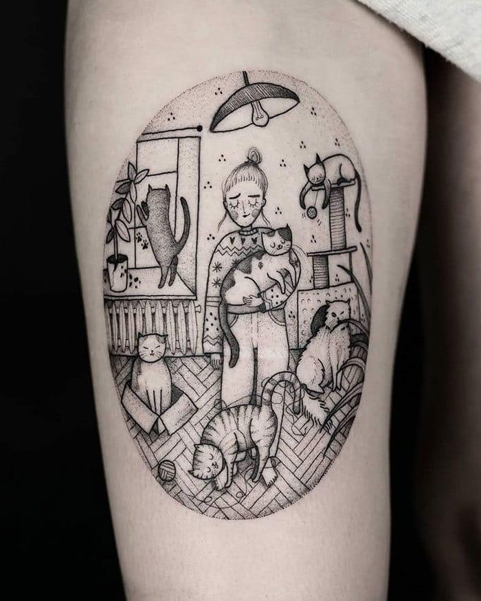 45 pessoas que fizeram tatuagens absolutamente incríveis de gatos 25
