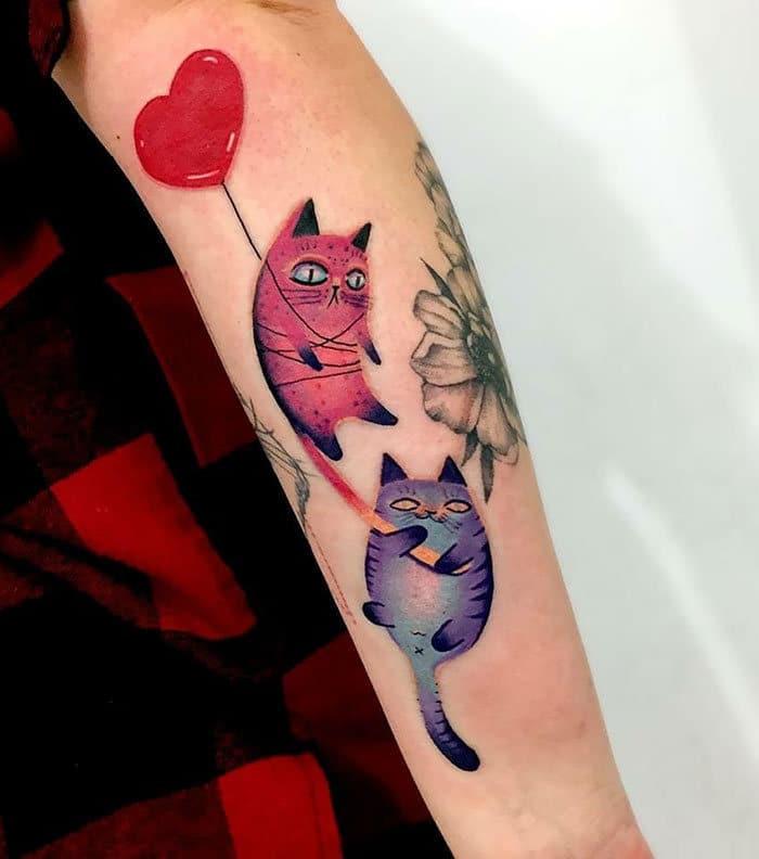 45 pessoas que fizeram tatuagens absolutamente incríveis de gatos 37