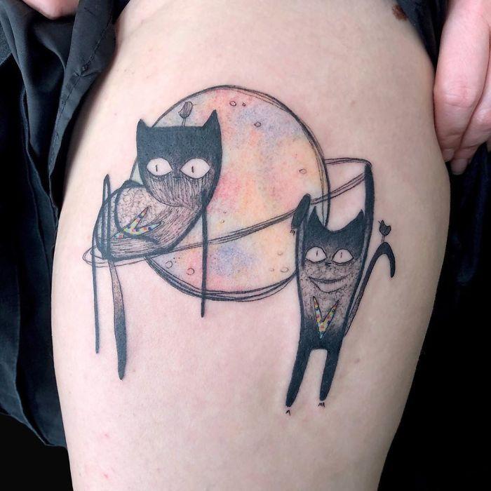 45 pessoas que fizeram tatuagens absolutamente incríveis de gatos 42