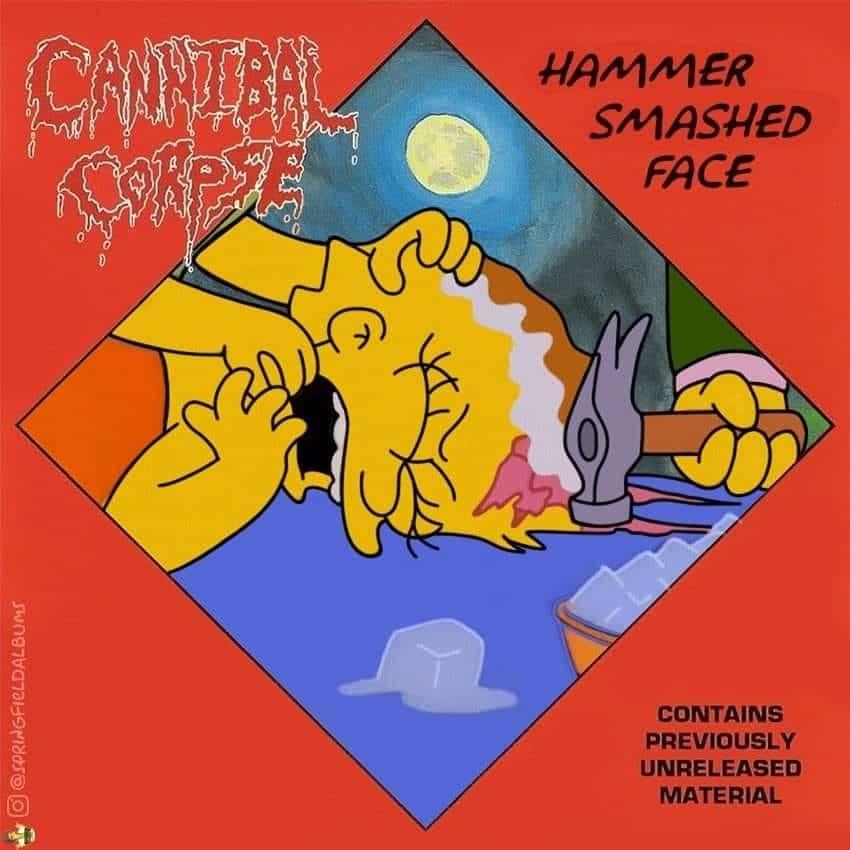 Capas de álbuns de metal divertidamente recriadas com personagens dos Simpsons 13