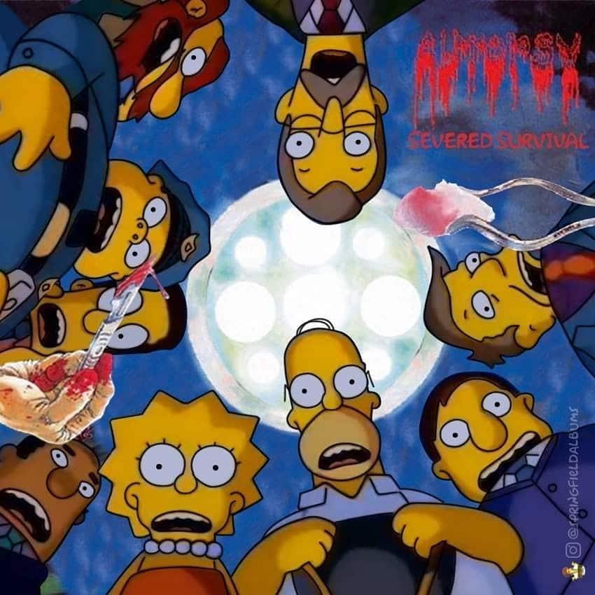 Capas de álbuns de metal divertidamente recriadas com personagens dos Simpsons 27