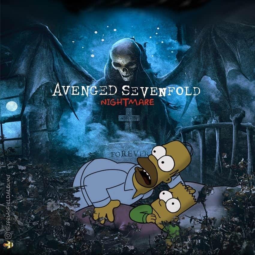 Capas de álbuns de metal divertidamente recriadas com personagens dos Simpsons 33
