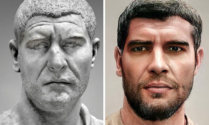 Artista mostra como os imperadores romanos eram na vida real 8