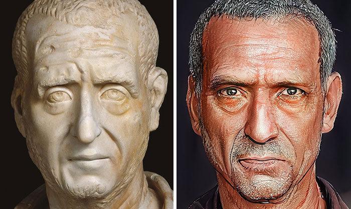 Artista mostra como os imperadores romanos eram na vida real 54